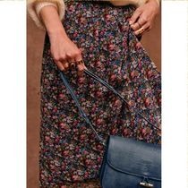 SEZANE Flared Skirts Flower Patterns Casual Style Long Party Style