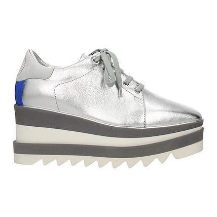 Stella McCartney ELYSE Logo Square Toe Platform Rubber Sole Lace-up Casual Style