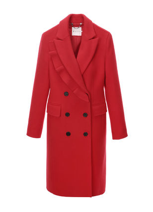 IT MICHAA Chester Stand Collar Coats Casual Style Wool Cashmere Studded Plain 3