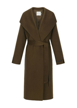 IT MICHAA Chester Stand Collar Coats Casual Style Wool Cashmere Studded Plain 2