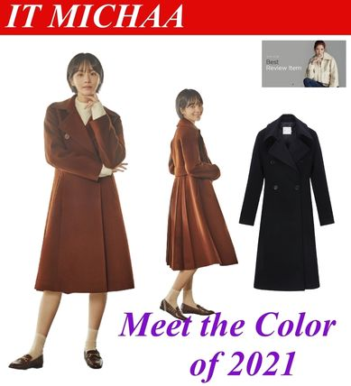 IT MICHAA Chester Stand Collar Coats Casual Style Wool Cashmere Studded Plain