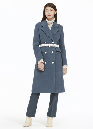 Stand Collar Coats Casual Style Wool Cashmere Studded Plain