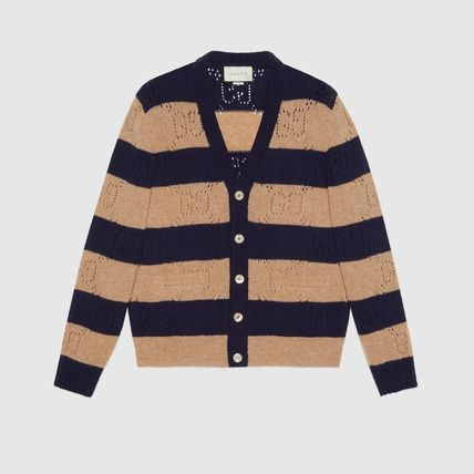 GUCCI Stripes Unisex Wool Street Style Handmade Logo Front Button