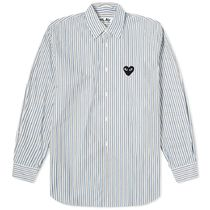 PLAY COMME des GARCONS Stripes Heart Street Style Long Sleeves Cotton Logo Shirts
