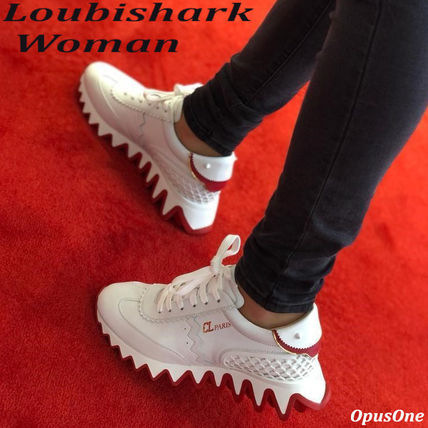 Christian Louboutin LOUBISHARK Rubber Sole Casual Style Street Style Leather Office Style