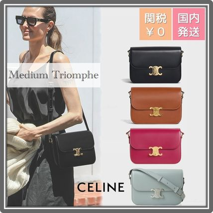 CELINE Triomphe Casual Style Leather Party Style Office Style Elegant Style