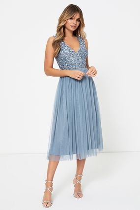 Chiffon Sleeveless Flared V-Neck Medium Party Style Midi