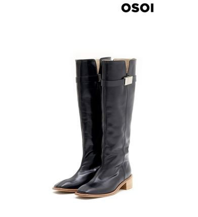 Cowboy Boots Square Toe Casual Style Unisex Street Style