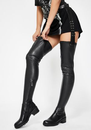 DOLLS KILL Round Toe Casual Style Faux Fur Plain Over-the-Knee Boots