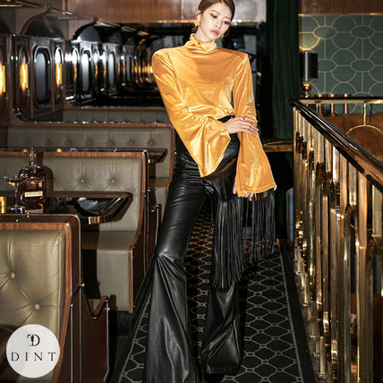 Metallic Casual Style Maxi Plain Leather Long Party Style