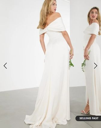 ASOS Bridal Icy Color Sheer Wrap Dresses Tight Maxi A-line Flared