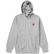 PLAY COMME des GARCONS Heart Street Style Long Sleeves Cotton Logo Hoodies