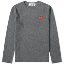 PLAY COMME des GARCONS Heart Wool Long Sleeves Plain Logo Sweaters