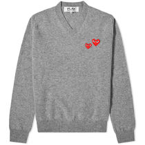PLAY COMME des GARCONS Pullovers Heart Wool V-Neck Long Sleeves Plain Logo Sweaters
