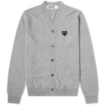 PLAY COMME des GARCONS Heart Wool Street Style Plain Logo Cardigans
