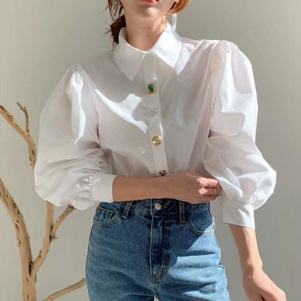 Casual Style Long Sleeves Plain Medium With Jewels