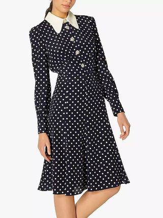 Dots Casual Style Silk Blended Fabrics Flared Bi-color