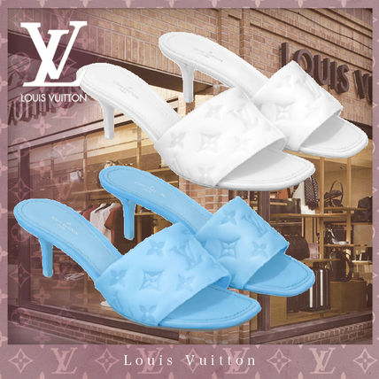 Louis Vuitton Square Toe Casual Style Plain Leather Pin Heels Mules Logo