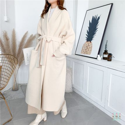 Casual Style Plain Office Style Wrap Coats