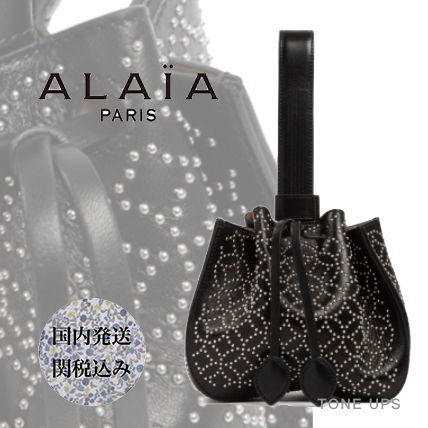 Calfskin Studded Leather Party Style Elegant Style