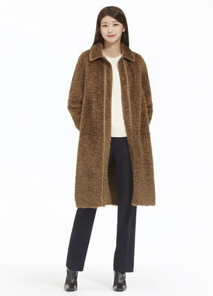 Wool Cashmere Tweed Studded Street Style Plain Chester Coats