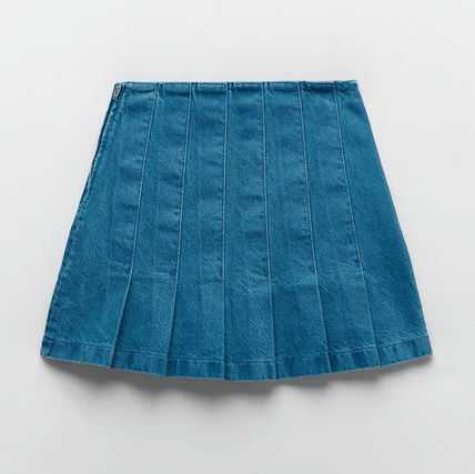 ZARA Denim Plain Mini Skirts