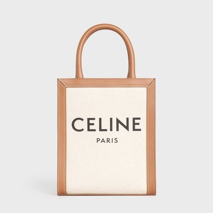 CELINE Vertical Cabas Casual Style Calfskin Canvas 2WAY Leather Elegant Style