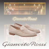 Gianvito Rossi Round Toe Casual Style Suede Plain Leather Elegant Style