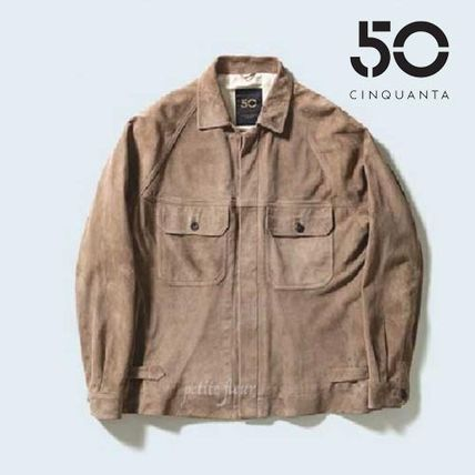 Military Short Suede Plain Street Style MA-1 Bomber Jackets