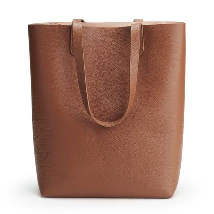A4 Plain Leather Office Style Elegant Style Totes