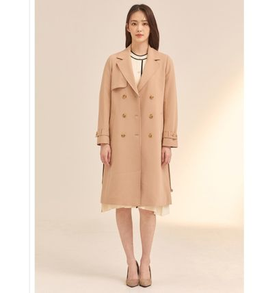 Stand Collar Coats Casual Style Plain Long Party Style