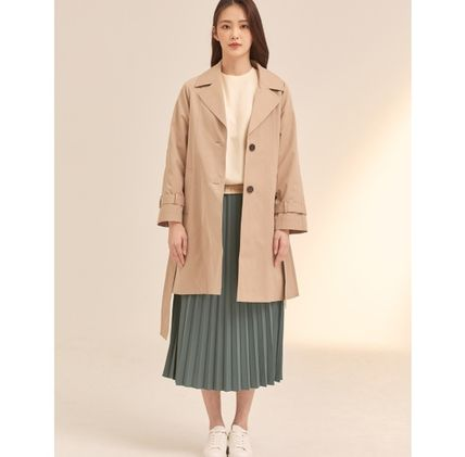 Stand Collar Coats Casual Style Plain Medium Party Style