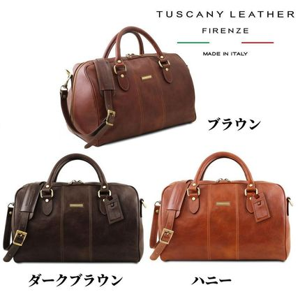 Tuscany Leather Unisex Calfskin A4 2WAY Plain Leather Boston Bags