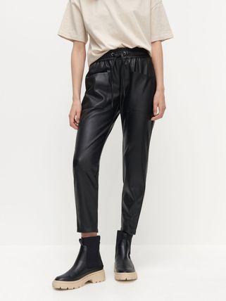 RESERVED Casual Style Faux Fur Leather & Faux Leather Pants