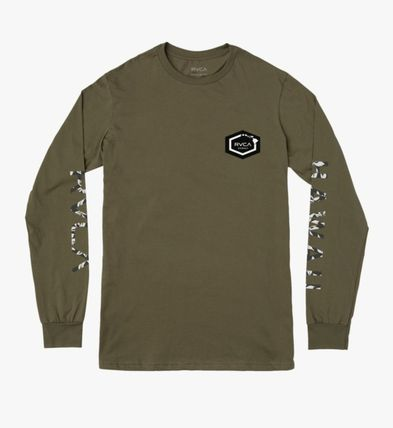 RVCA Long Sleeve Crew Neck Pullovers Camouflage Unisex U-Neck Long Sleeves 3