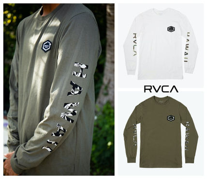 RVCA Long Sleeve Crew Neck Pullovers Camouflage Unisex U-Neck Long Sleeves