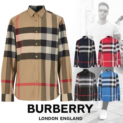 Burberry Shirts Tartan Street Style Long Sleeves Cotton Logo Luxury Shirts