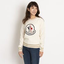 MONCLER MAGLIONE Crew Neck Casual Style Wool Cashmere Rib Long Sleeves Plain
