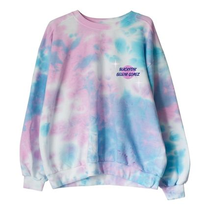 Logo Tie-dye Long Sleeves Oversized Hoodies & Sweatshirts