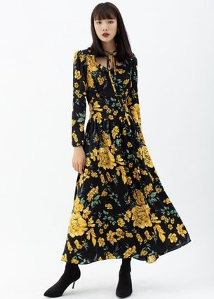 Flower Patterns Casual Style Maxi Long Sleeves Long