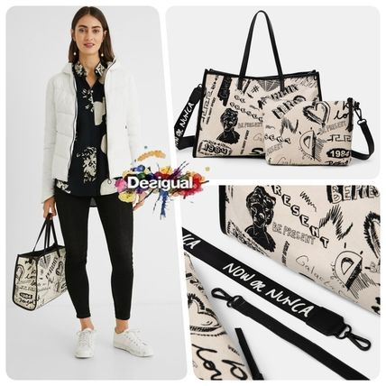 Casual Style Street Style Office Style Logo Totes