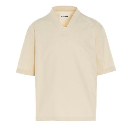 Jil Sander Pullovers V-Neck Plain Cotton Short Sleeves Designers