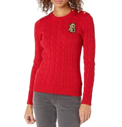 Ralph Lauren Crew Neck Cable Knit Casual Style Street Style Long Sleeves