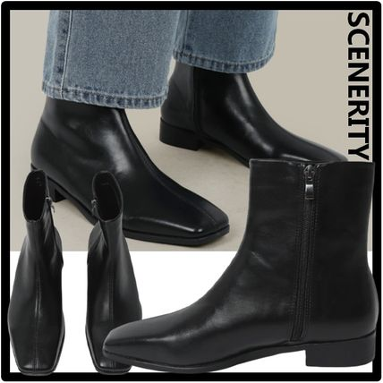 SCENERITY Street Style Leather Boots