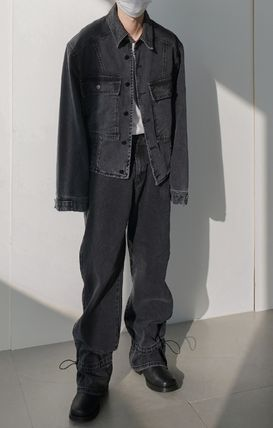 Denim Street Style Collaboration Plain Oversized