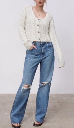 ZARA Cable Knit Casual Style Wool Long Sleeves With Jewels