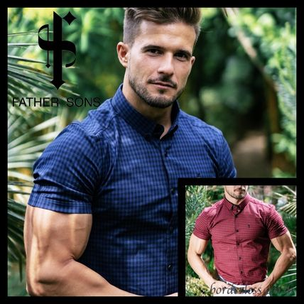 Father & Sons Shirts Button-down Gingham Short Sleeves Shirts