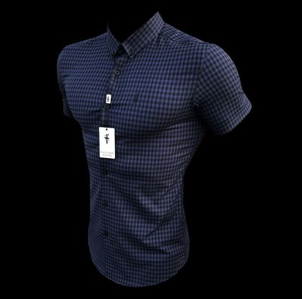 Button-down Gingham Short Sleeves Shirts