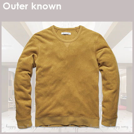 Outer known Sweatshirts Crew Neck Pullovers Unisex Long Sleeves Plain Cotton Logo