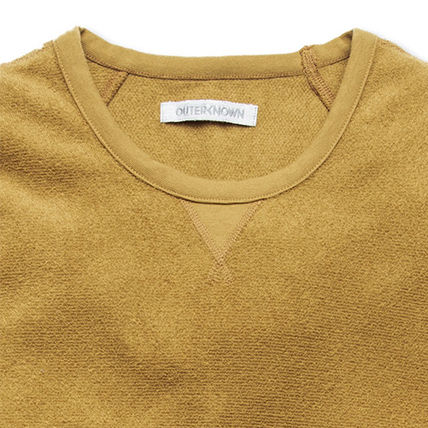 Outer known Sweatshirts Crew Neck Pullovers Unisex Long Sleeves Plain Cotton Logo 3
